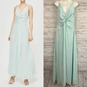 Topshop mint polka dot twist knot front maxi dress